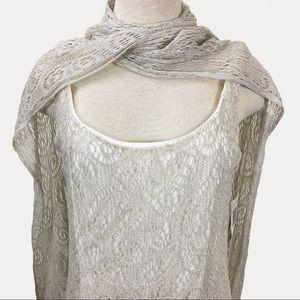 Vintage Dresses - Jeffrey + Dara Crochet Lace Ivory Metallic Dress